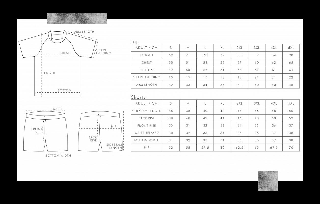 欖球衫尺碼表
