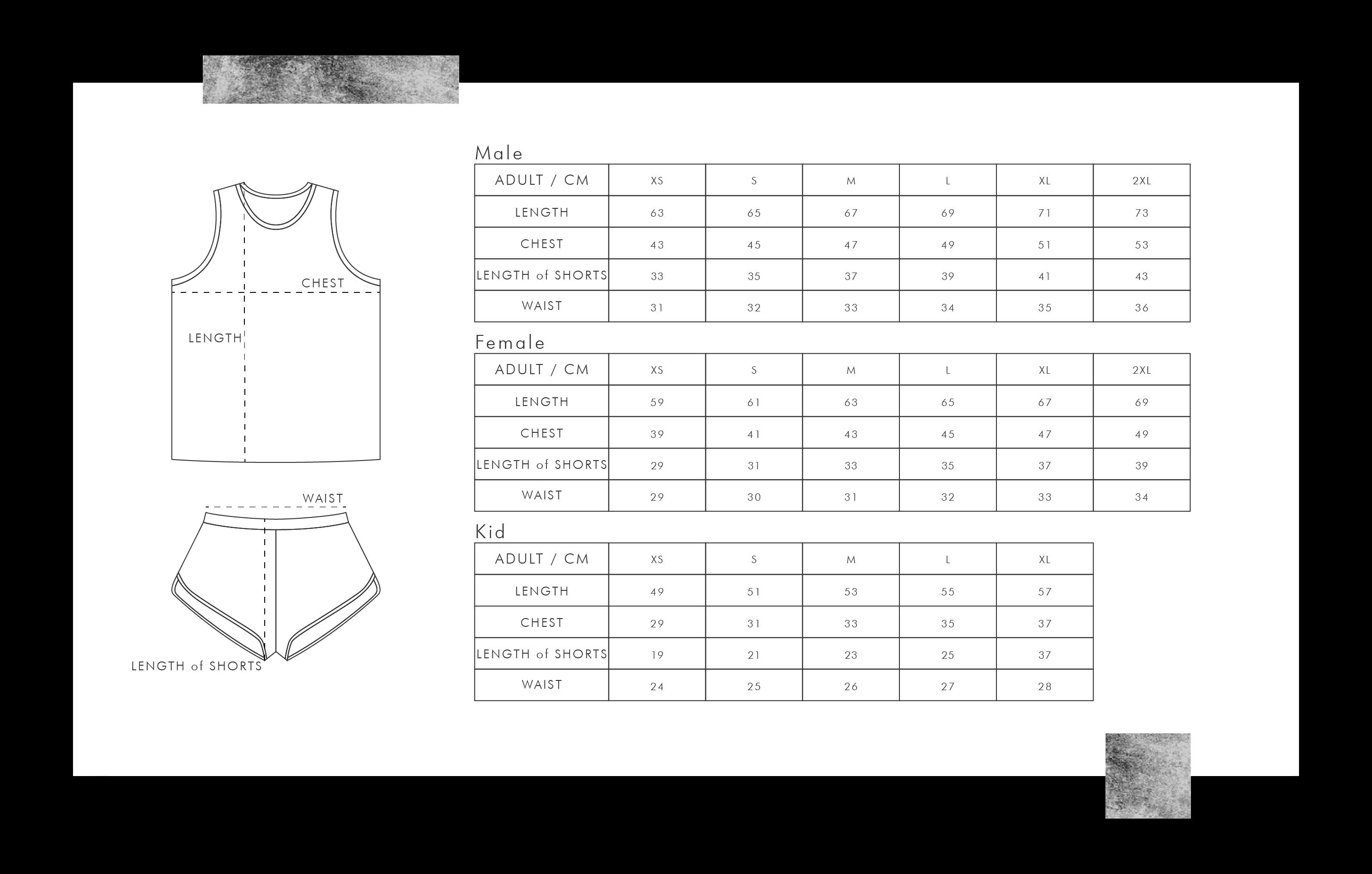田徑衫尺碼表