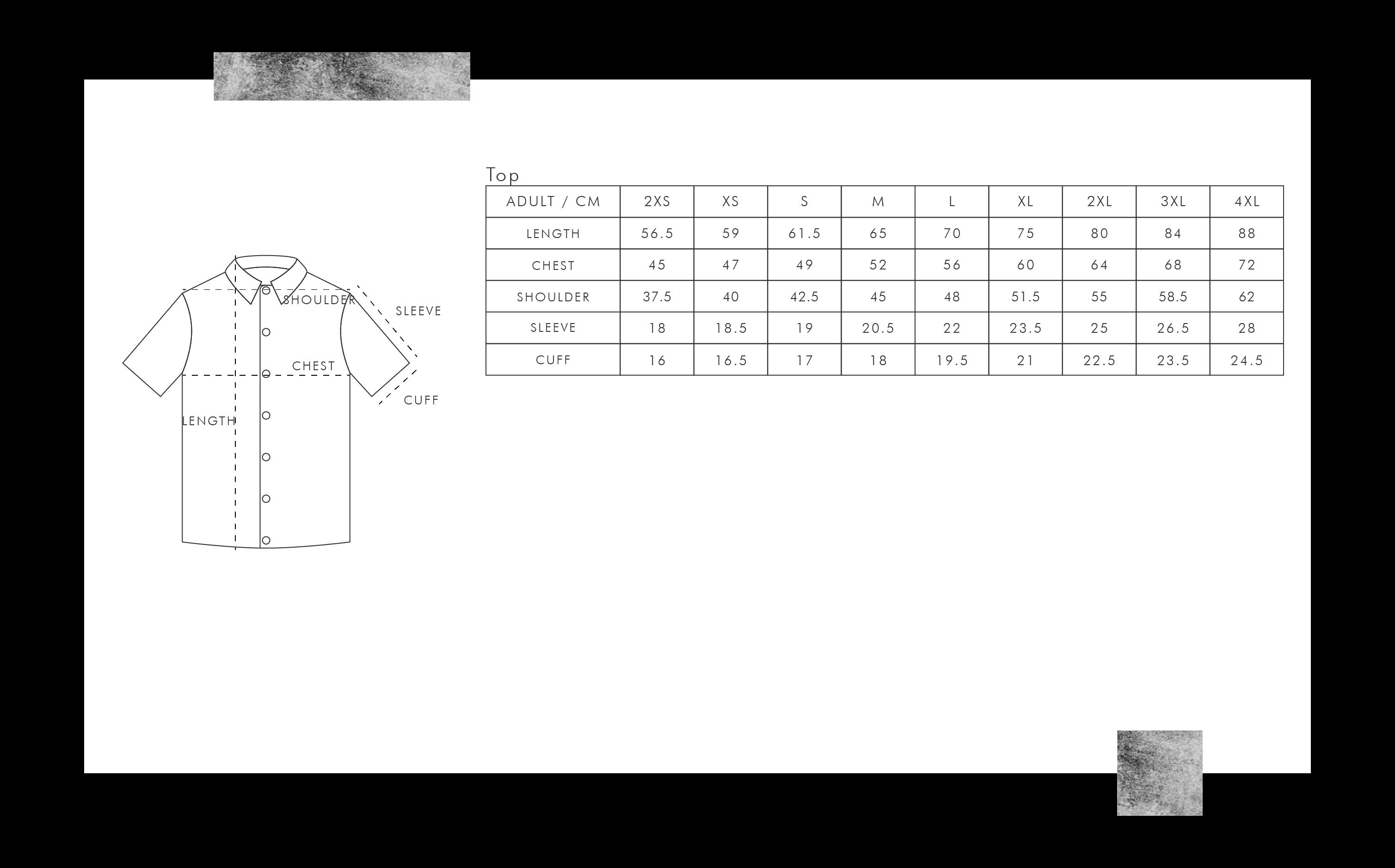 飛鏢衫尺碼表